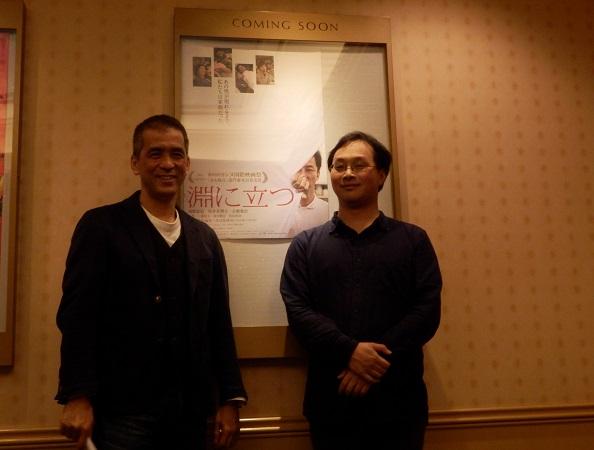 CINEXロビーにて (左)増田英明プロデューサー (右)深田晃司監督