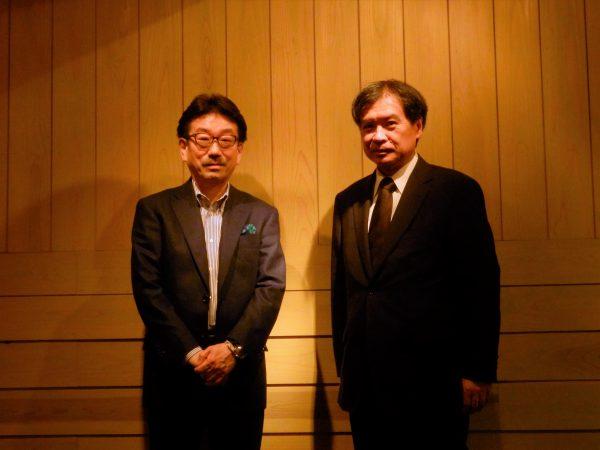 トークショー後に 左:真木太郎プロデューサー 右;片渕須直監督