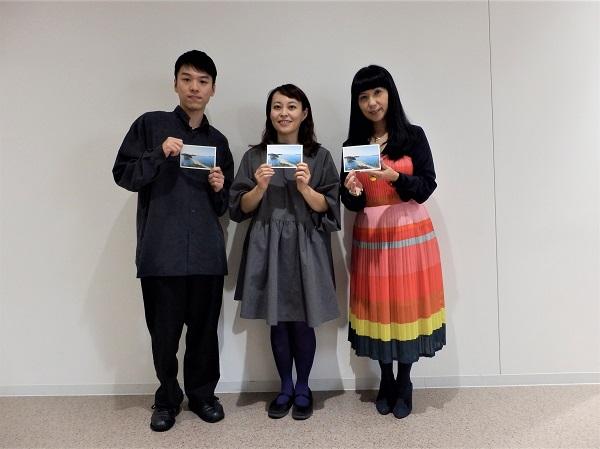 左:長村航希さん 中:香西志帆監督 右:司会の松岡ひとみさん